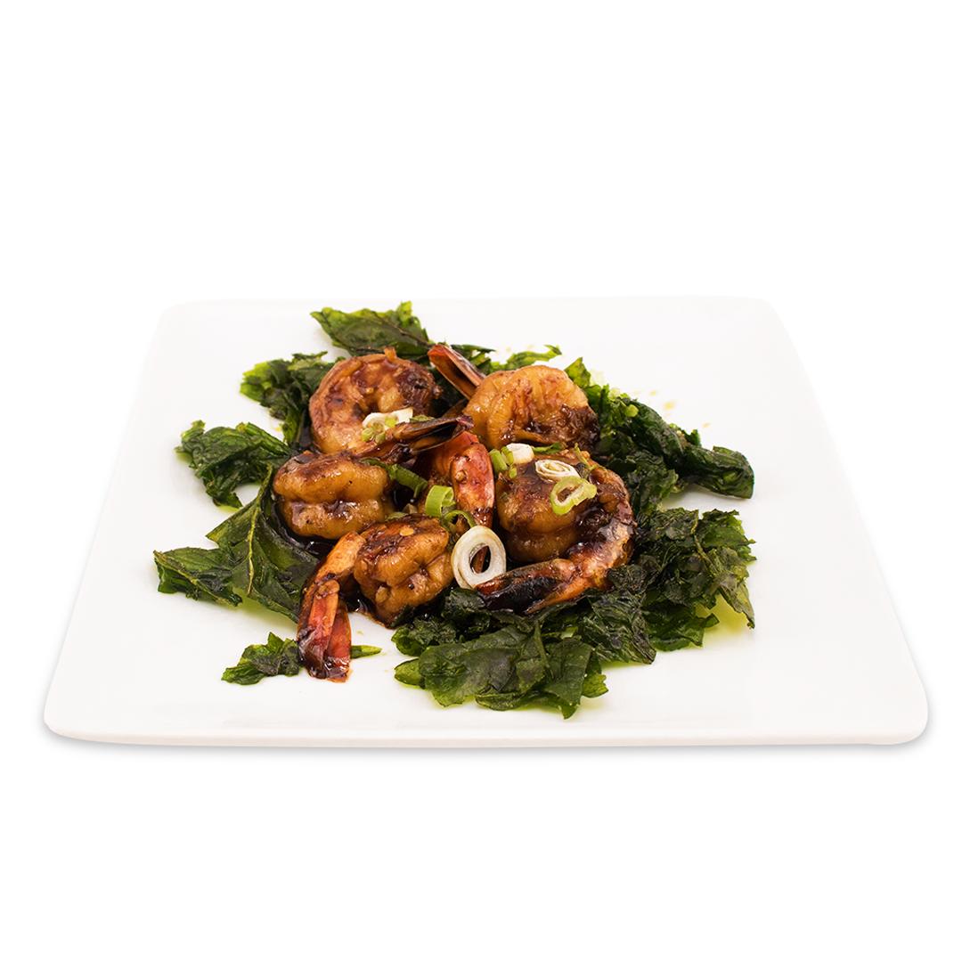 Crevettes sautées au poivre et épinards croustillants (peut-être remplacé par poulet ou tofu - (peut-être remplacé par poulet ou tofu