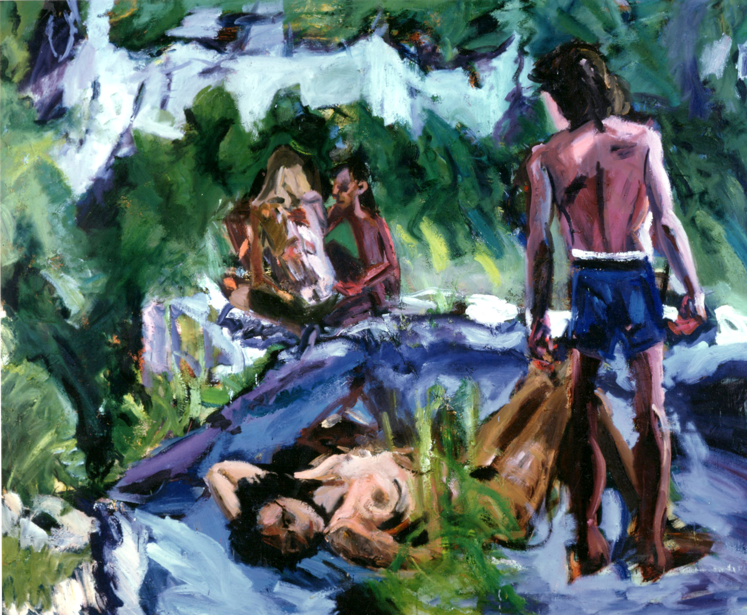artist -ronan walsh-'they- don't- know''- 72x96ins--1996-oil painting- canvas-available-$32,000.00.alt text-fine-art-canadian-landscape- four figures-expressionist.jpg