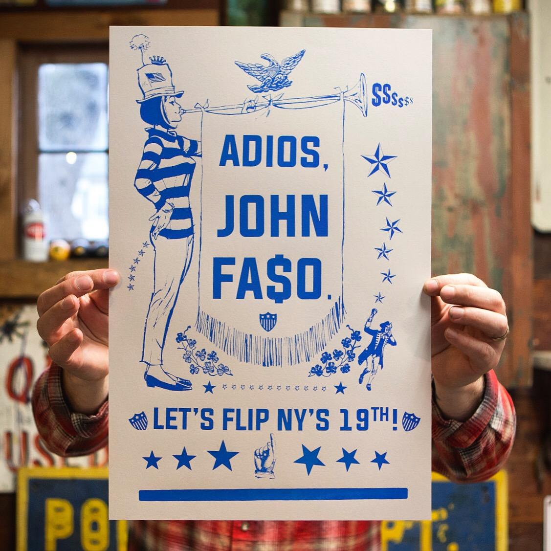 """Adios John Faso"""