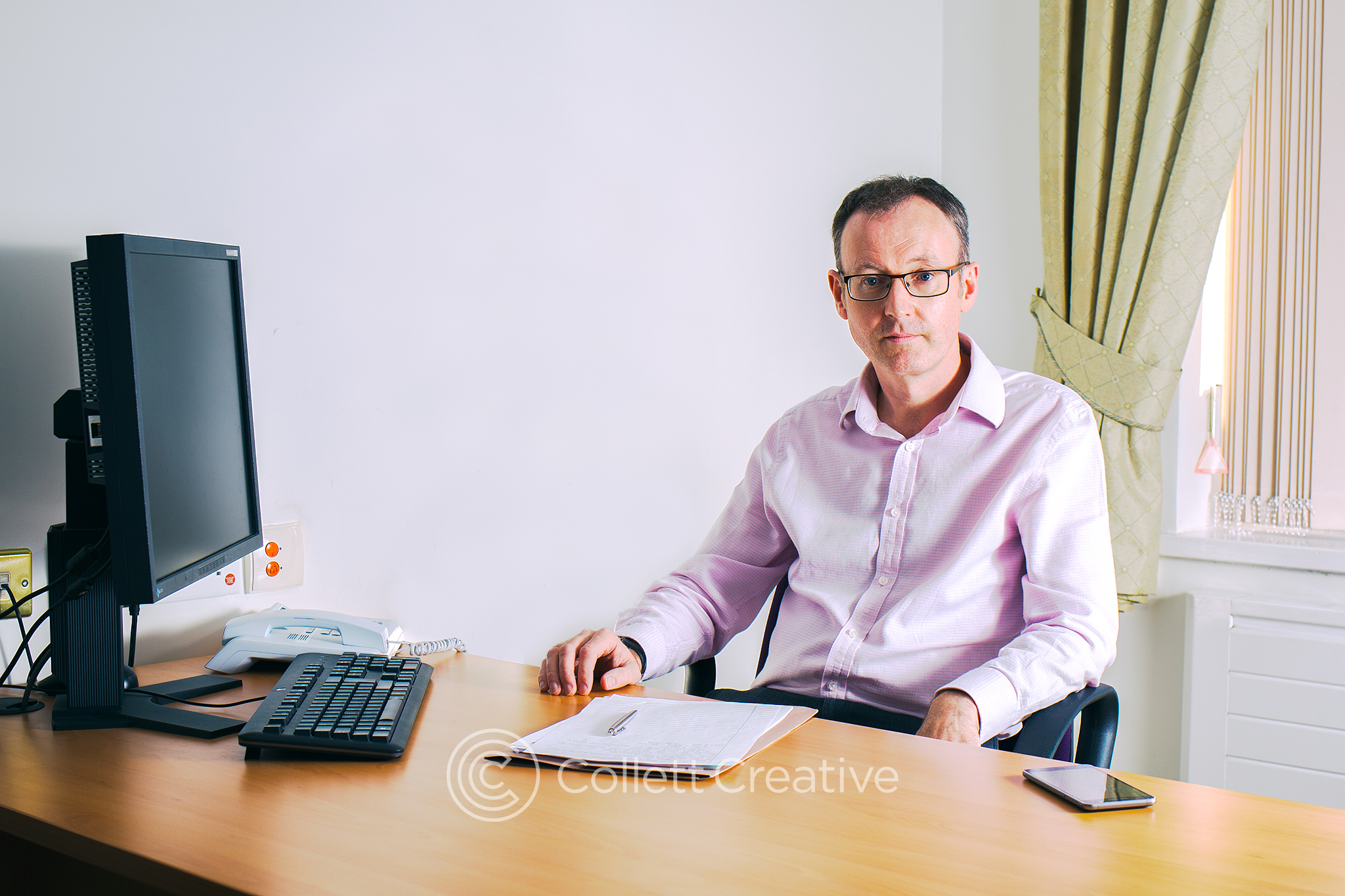 Photograph of Dr Hiskey taken at The Oaks Hospital, Colchester for his new website.