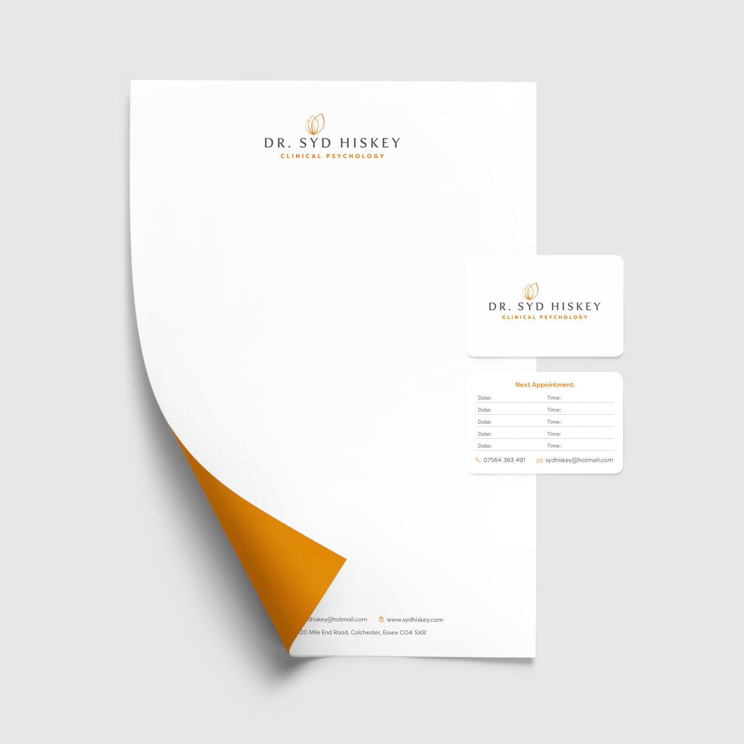 Letterhead and appointment cards design.