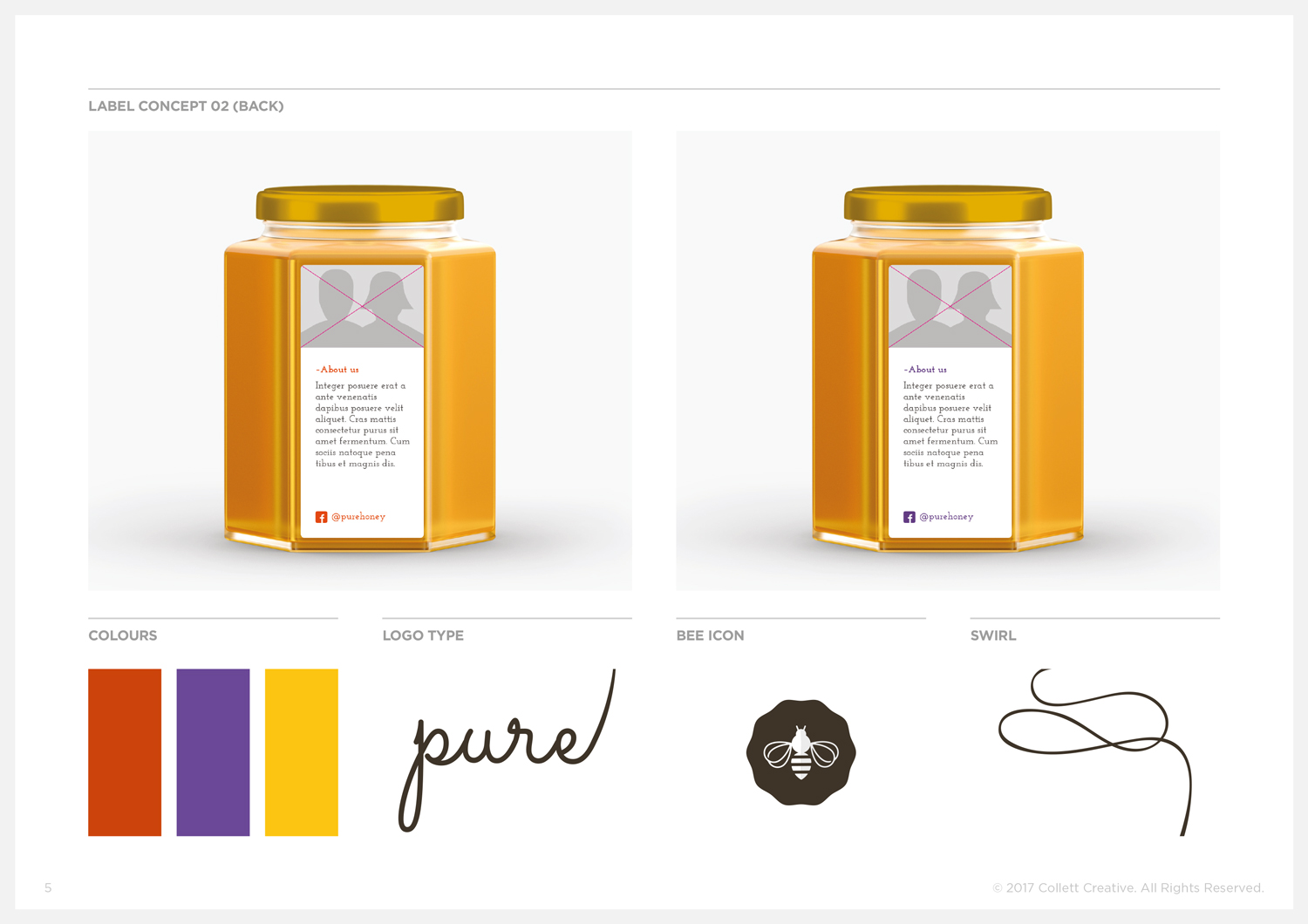 Concept No. 2  - Honey Jar Label Backs and Graphic Elements.