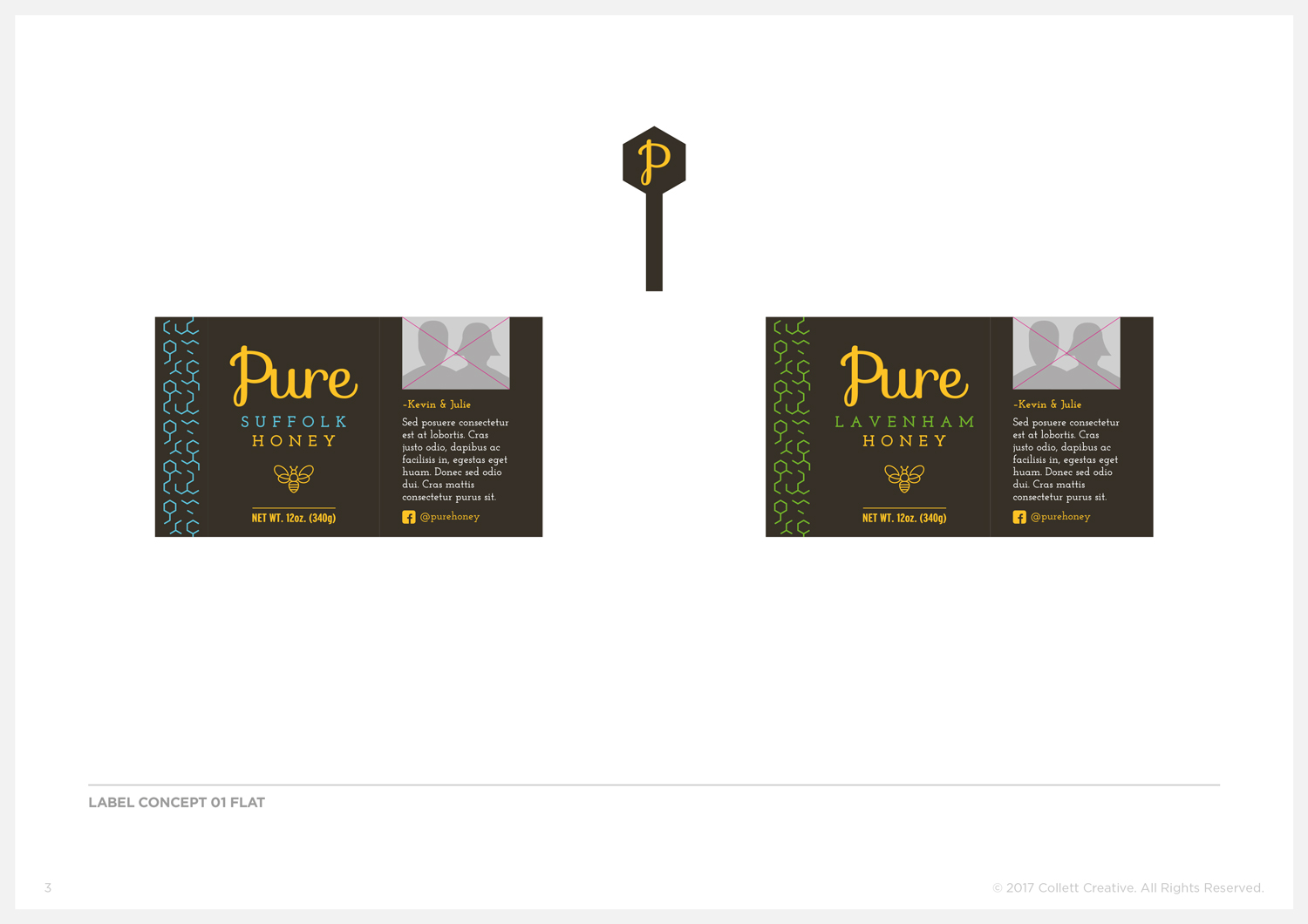 Concept No. 1  - Honey Jar Labels and Tamper Seals.