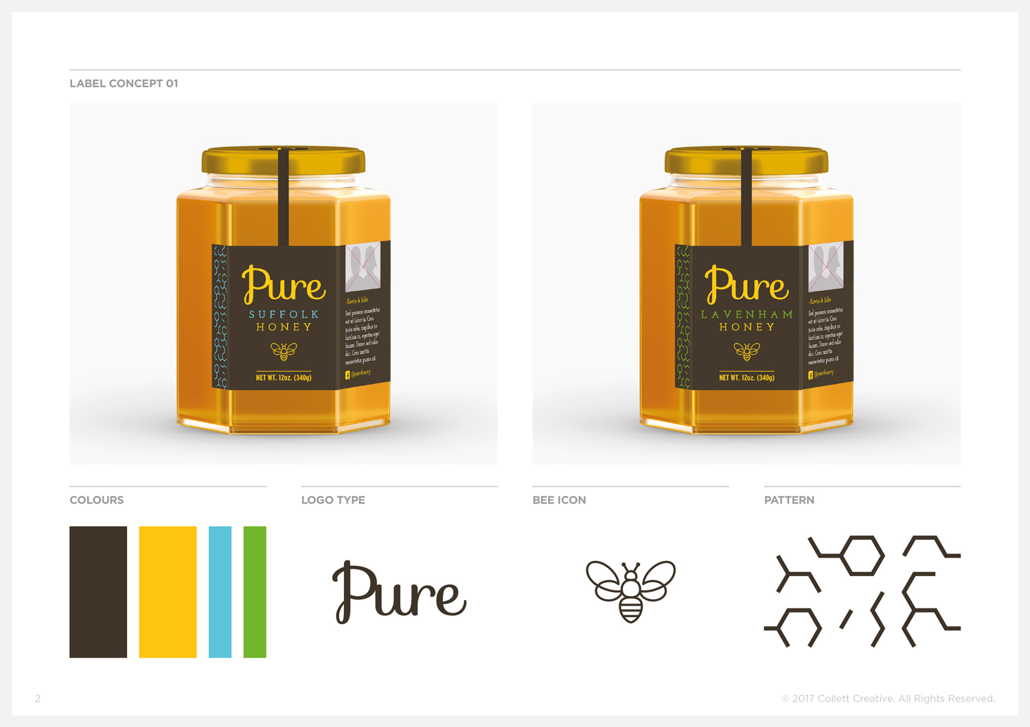 Concept No. 1  - Honey Jar Labels and Graphic Elements.