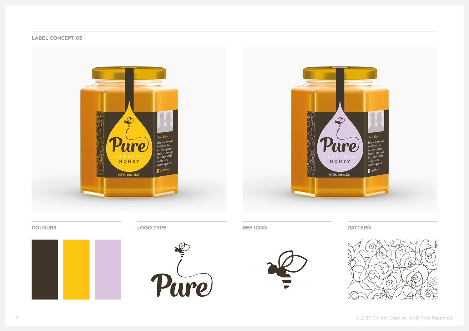 Concept No. 3  - Honey Jar Labels and Graphic Elements.