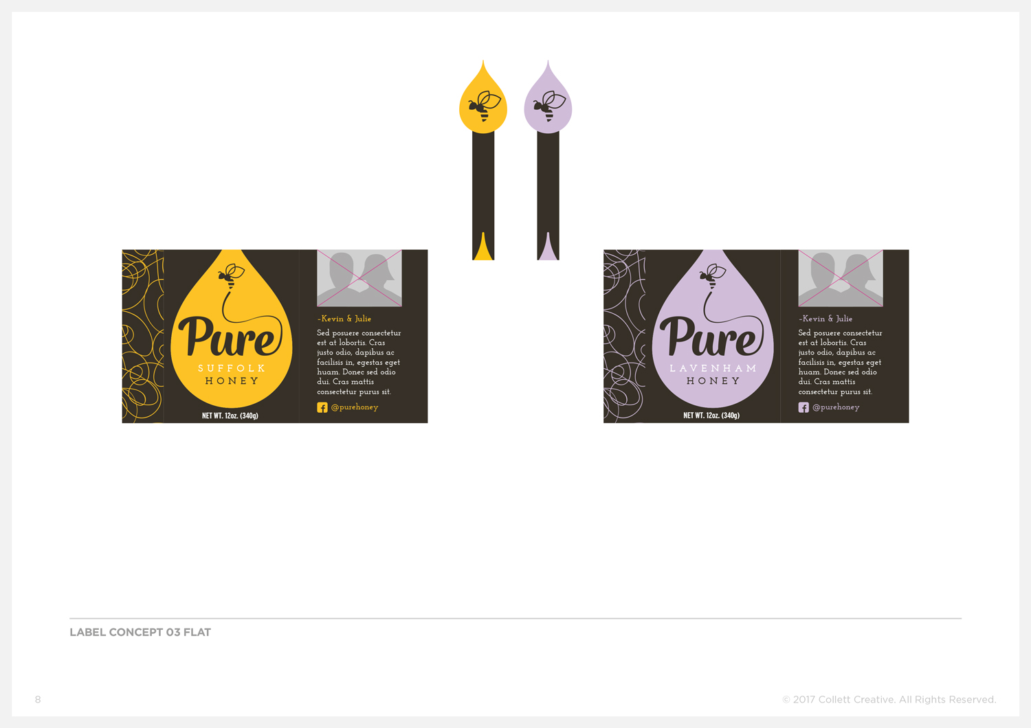 Concept No. 3  - Honey Jar Labels and Tamper Seals.