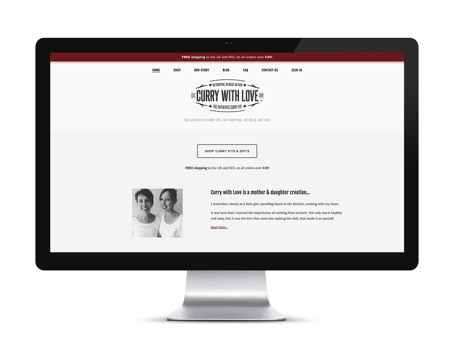 Website design and build for Curry with Love.