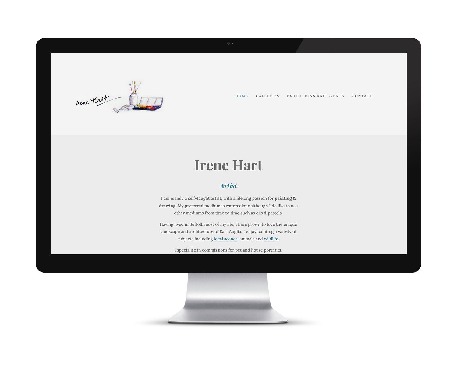 Home page design for Irene Hart Watercolour Artist at launch.