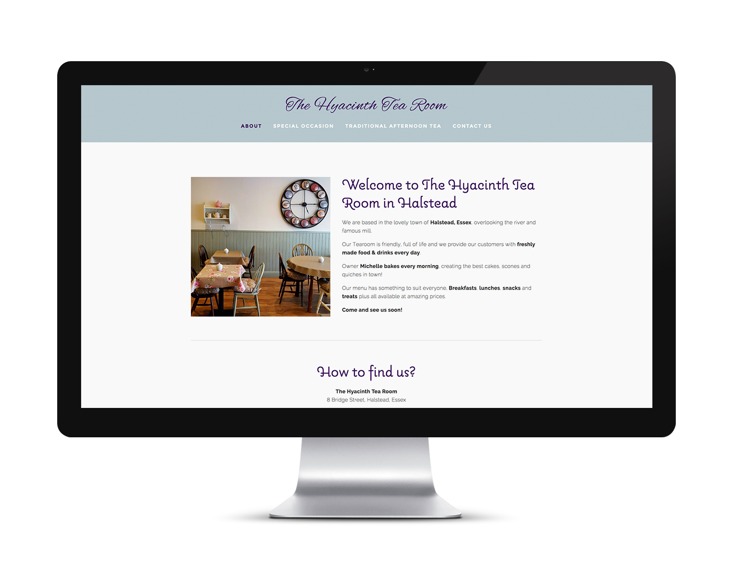 Home page design for The Hyacinth Tearoom, Halstead at Launch.