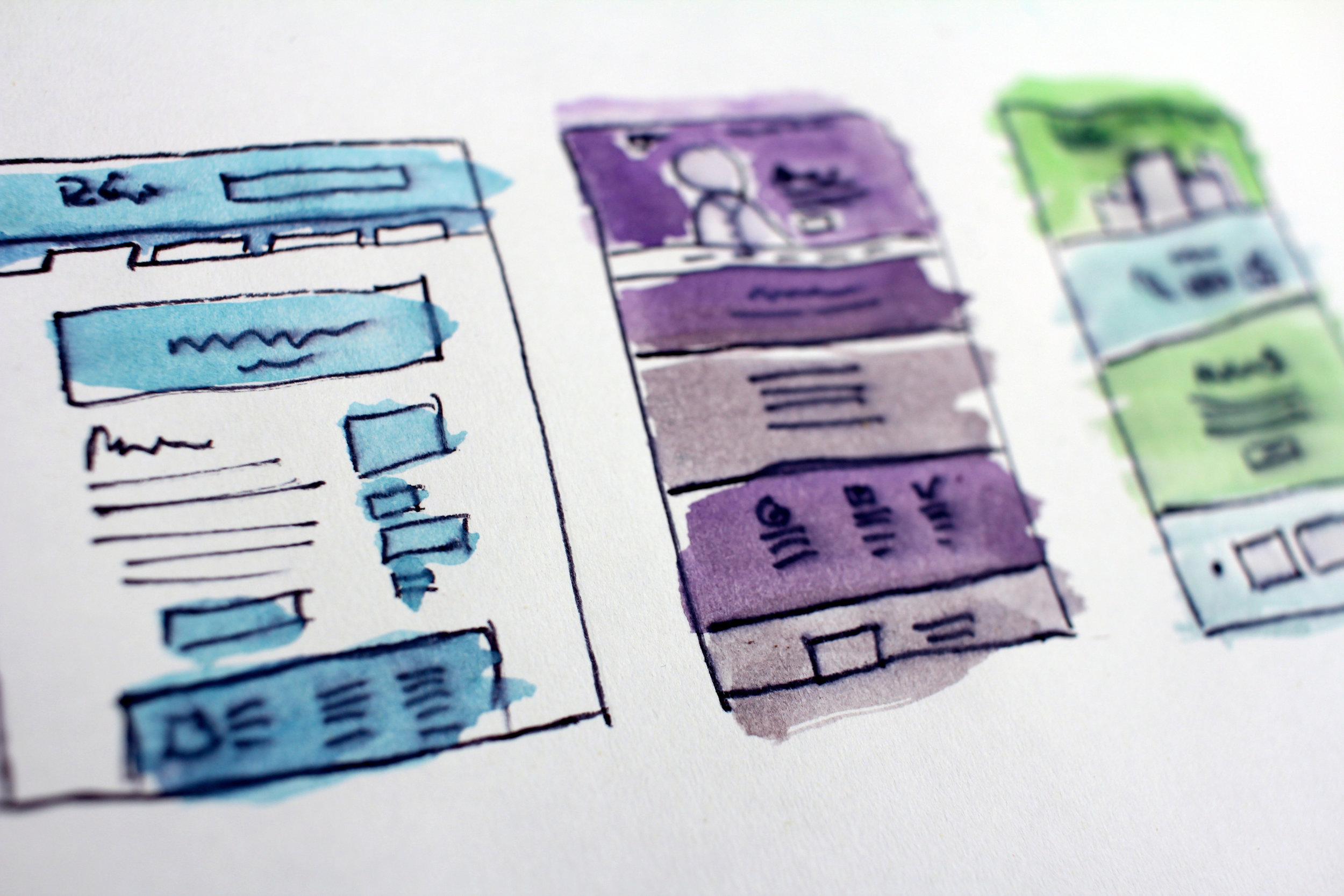 Image of some very illustrative website wireframes.