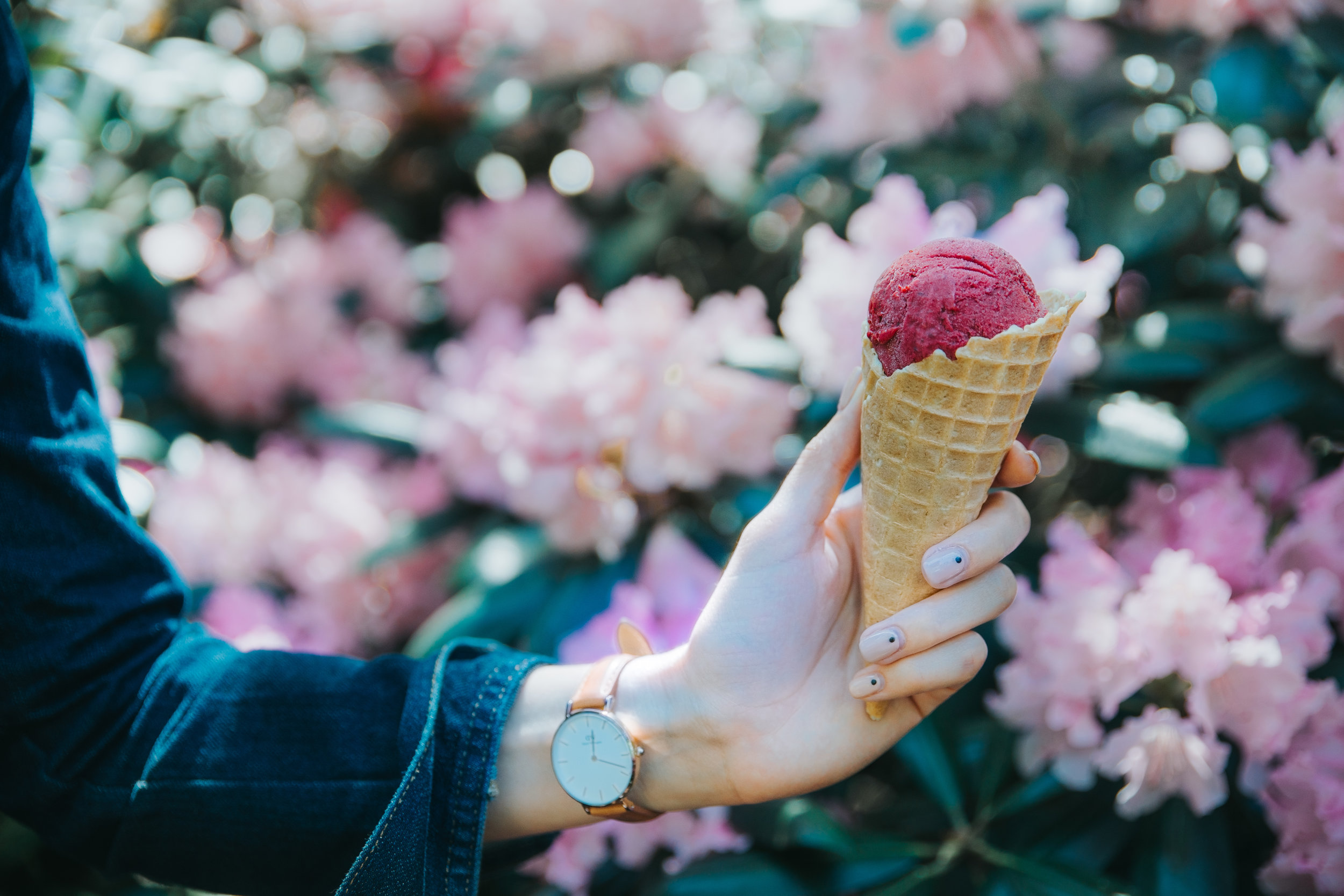 Image of a person holding an icecream.