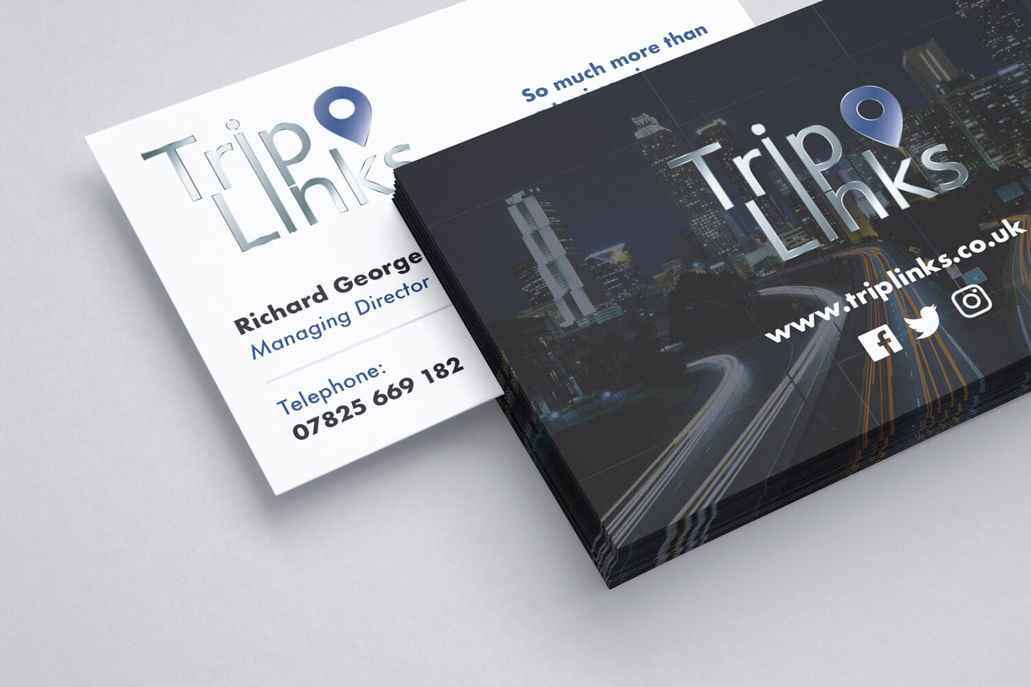 Business Card that we designed for Richard from TripLinks with spot UV varnish (Back).