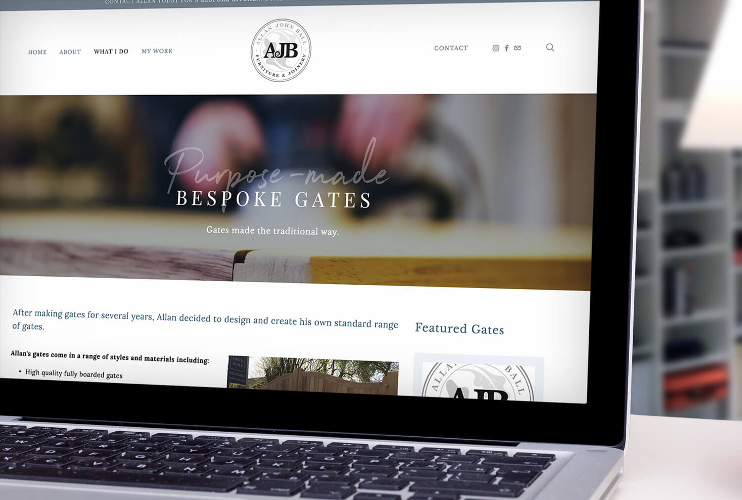 AJB Joinery Website Design Gates Page