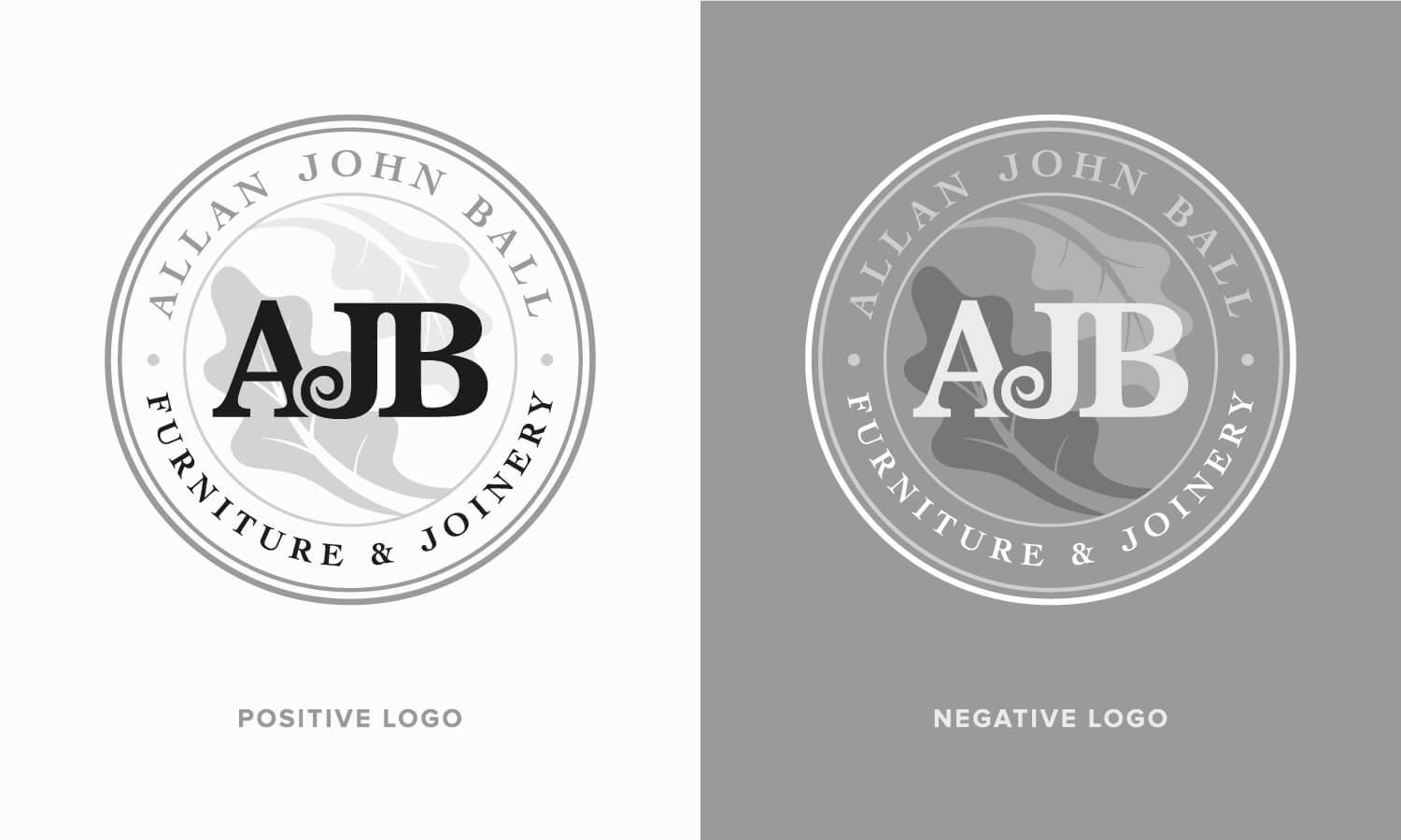 Positive and negative logo versions of the AJB Joinery logo design.