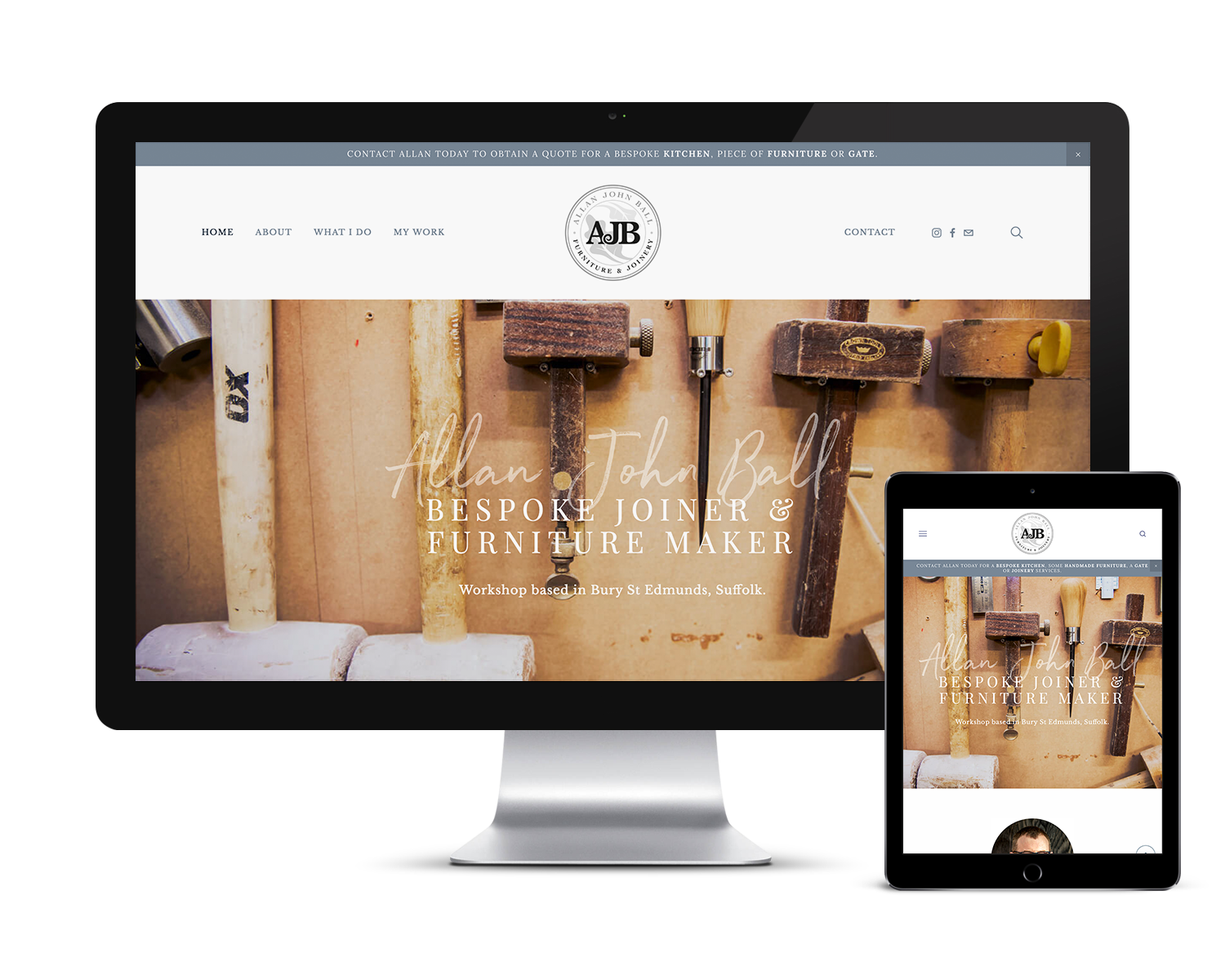 Image of the AJB Joinery Website Design on a desktop computer and iPad.