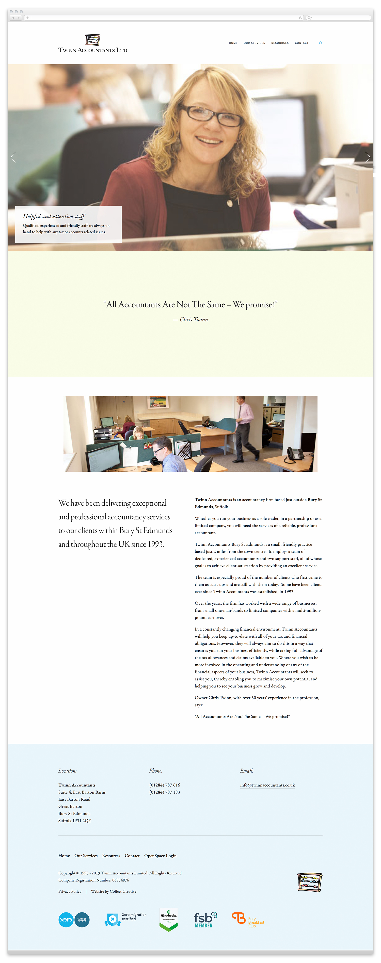 Image of the Twinn Accountants website homepage at time of launch.