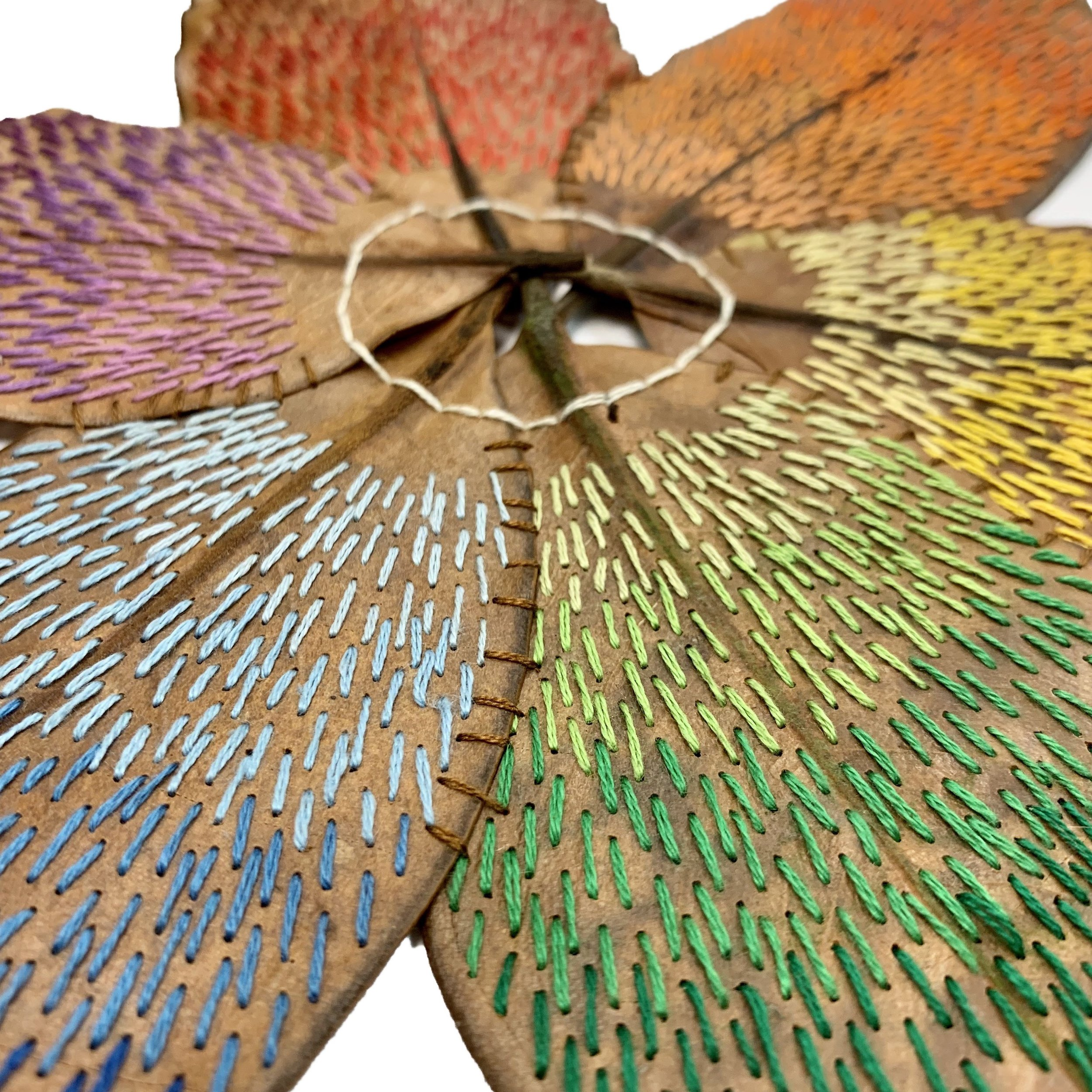 it starts with a magnolia leaf - Unique handmade fine art in the form of embroidery on magnolia leaves.