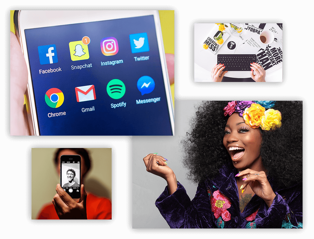 social media apps, selfie, blogger profile photo and keyboard