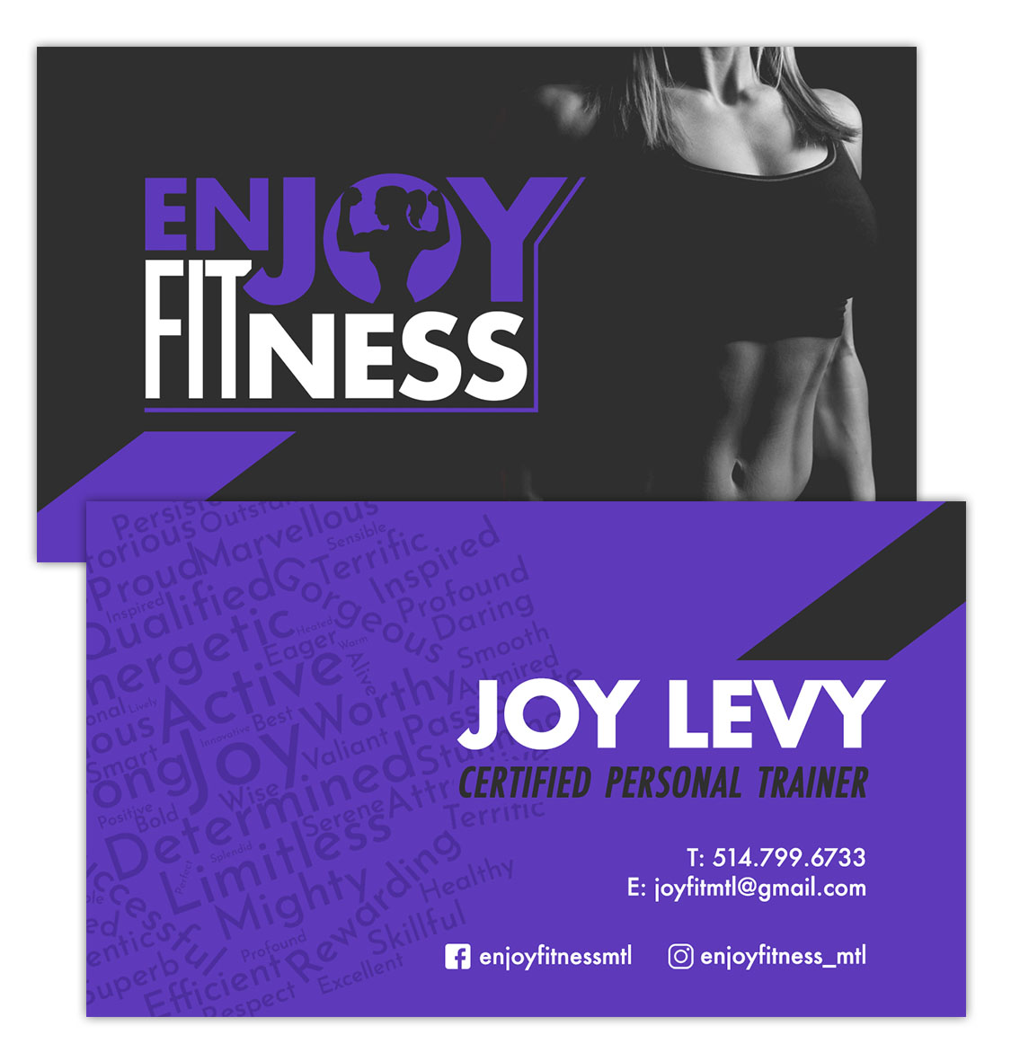 EnJoy Fitness Business Card design purple