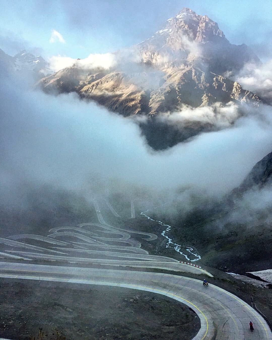 Cycling the Andes into Argentina.
