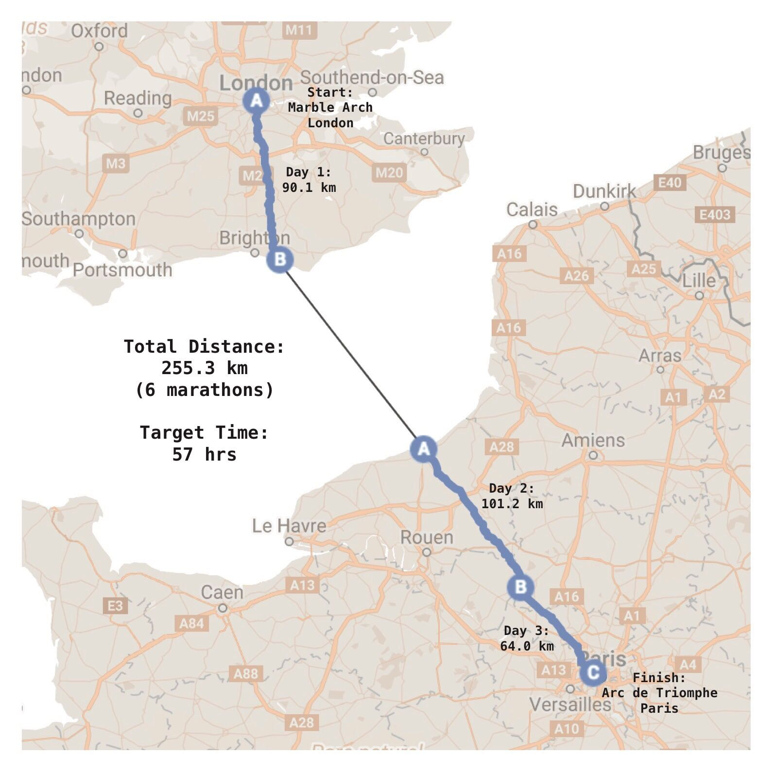 london to paris run running tom whittle