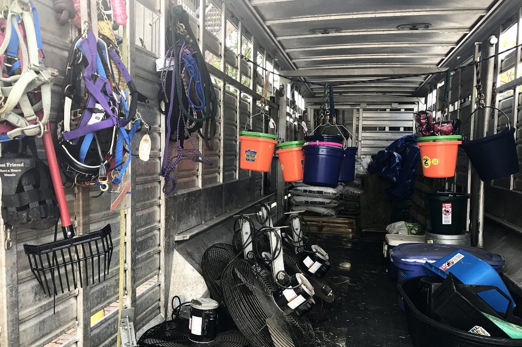 Palmetto Carriage Works Trailer filled with supplies to help the animals devastated by Hurricane Harvey.