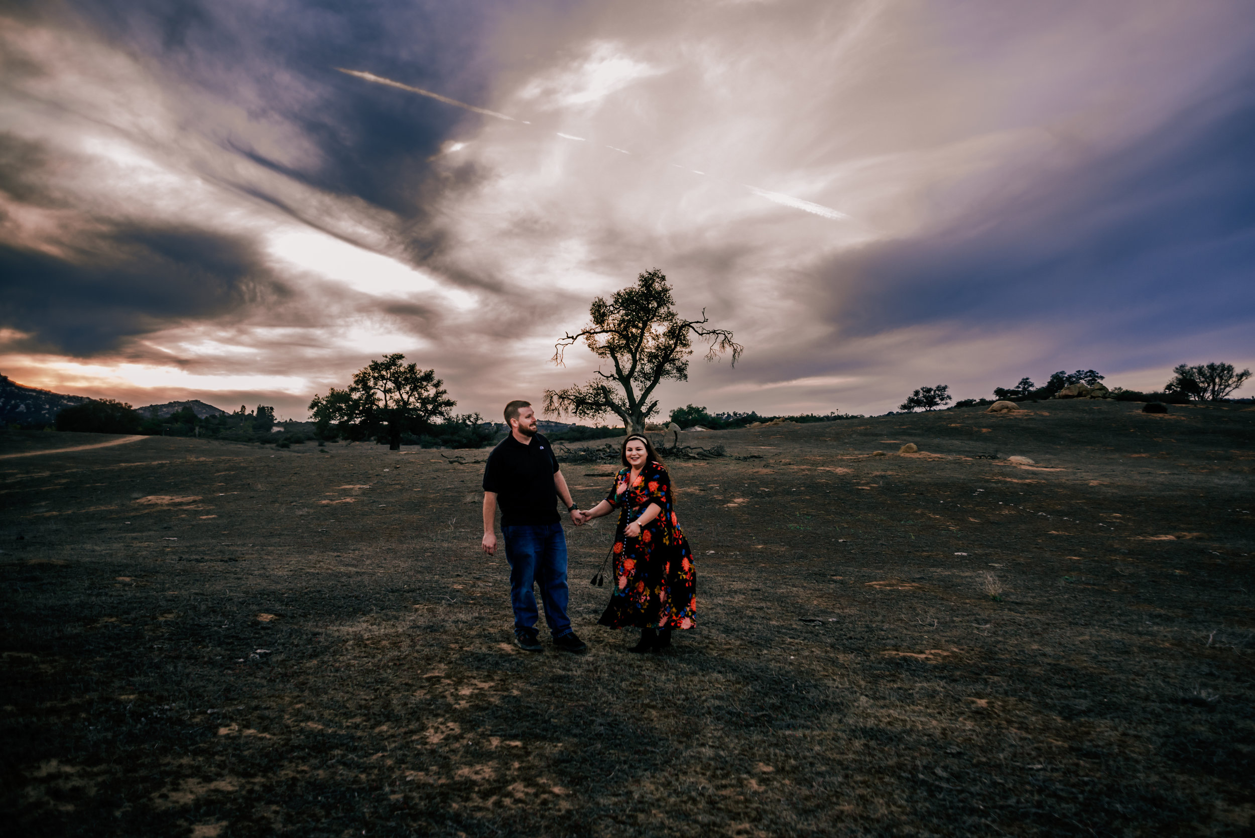 Ramona Grasslands Photograph with Couple Violets and Clementines Photography San Diego