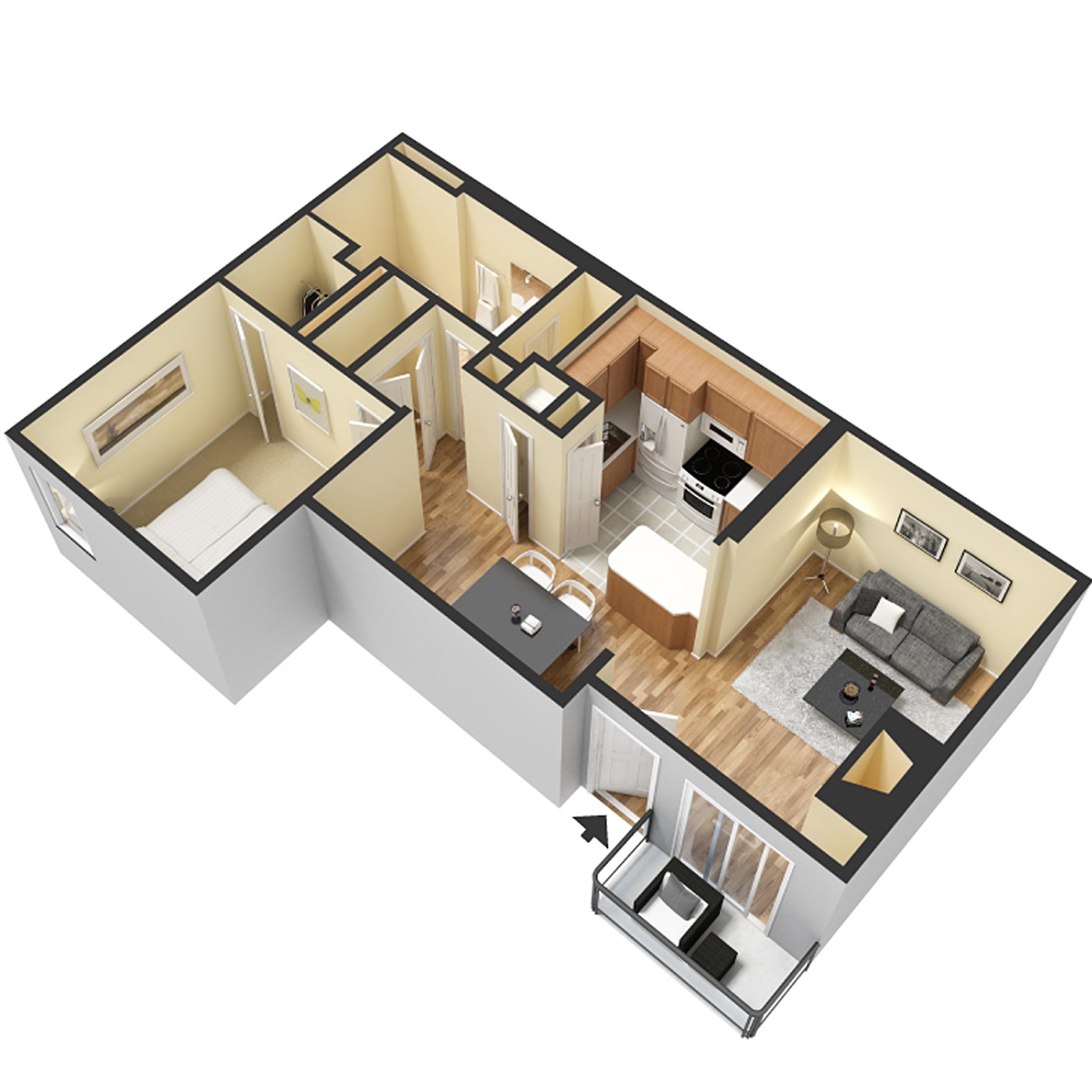 1 Bed 1 Bath - 750 Sq.Ft.