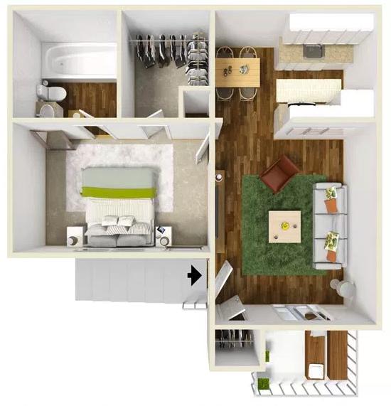 1 Bed 1 Bath - 525 Sq.Ft.
