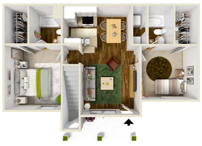 2 Bed 2 Bath - 900 Sq.Ft.