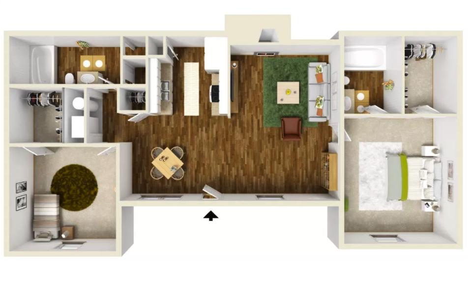 2 Bed 2 Bath - 825 Sq.Ft.