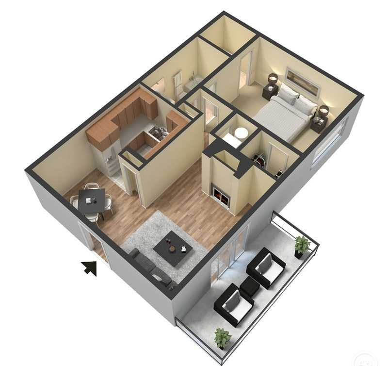 1 Bed 1 Bath - 640 Sq.Ft.