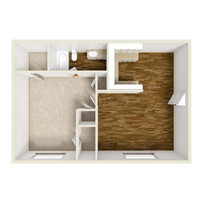 1 Bed 1 Bath - 650 Sq.Ft.