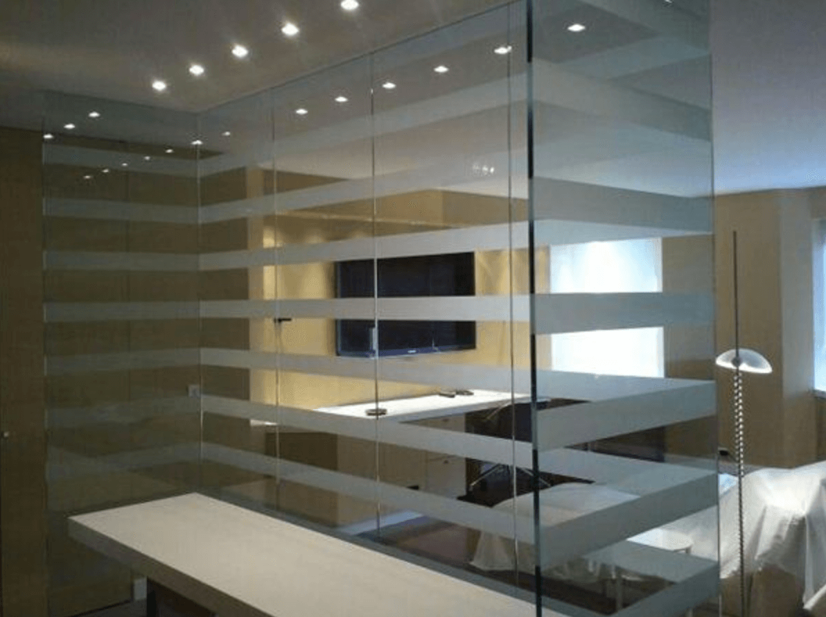 2. - A glass wall partition in your lobby or reception area will create a modern and stylish space that provides an excellent first impression for new and returning clients alike. Glass used in these areas can be tailored in thickness to reduce sound and light transmittance to meet your privacy needs.