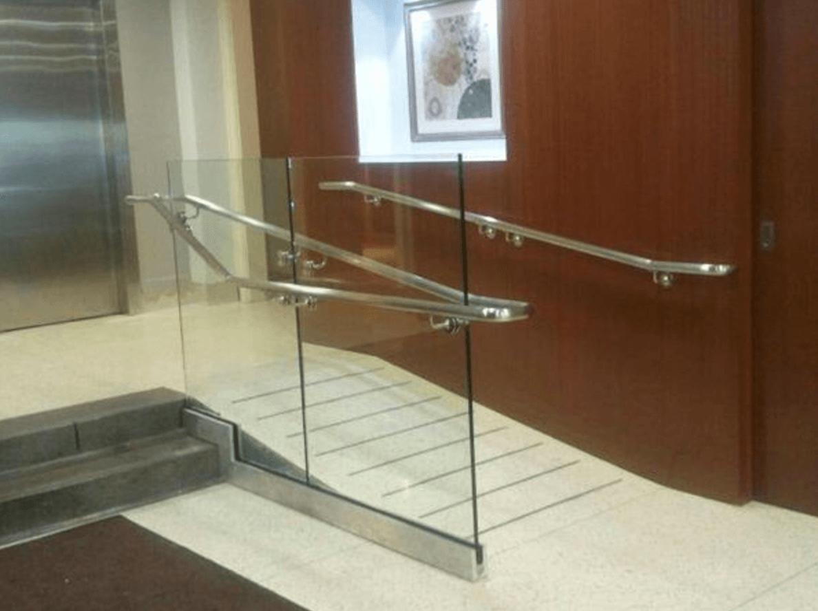 3. - Glass walls can be used as both a decorative and functional element in stairwells, ramps, and escalators to maintain a bright and open look in these areas. Installing a glass wall railing is safe and stylish, and may be just what your lobby or reception area need to make a great first impression. Specialty glass can be used to ensure the utmost in safety on stairwells and ramps without sacrificing a sleek, clean design.