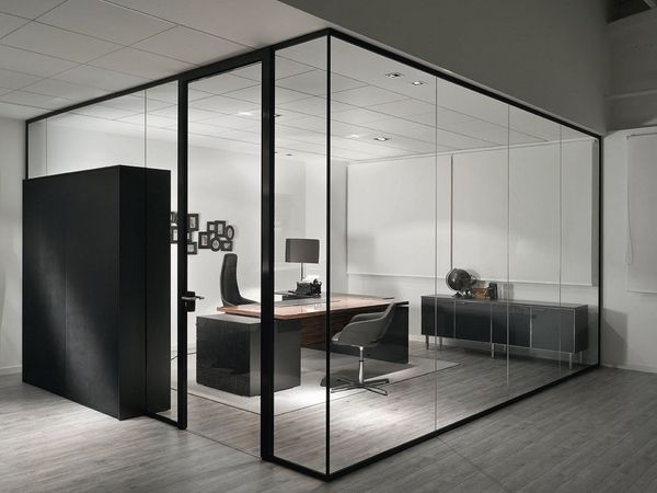 1. - Glass can be used as partitions to separate employee workspaces or enclose conference areas in lieu of other materials. Not only will the use of glass make your office appear larger and lighter, it will also help to boost employee productivity. Glass lets in more light, making spaces seem brighter and improving mood and morale, while maintaining visibility will encourage employees to stay on task and promote an atmosphere of trust.