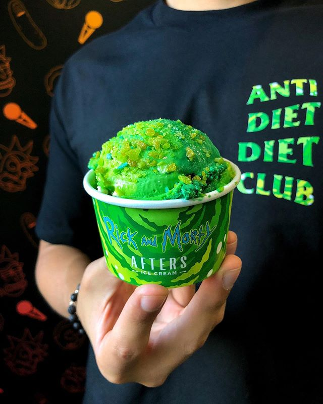 """Aw jeez, Rick... You turned us into ice cream!"" 🍦🦠🛸 We've revamped our @rickandmorty collab with our #AFTERSxRICKANDMORTY Caramel Portal Ice Cream topped with Green Apple Popping Isotope Candy and collab merch available at our @lacountyfair #RickandMorty themed ice cream barn and select #aftersicecream locations 🙌 #lacountyfair"