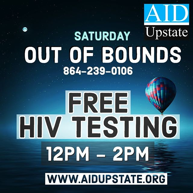 REMINDER - FREE HIV testing today (Saturday) from 12-2pm at Out of Bounds in Greenville: http://bit.ly/2SBqD2x Can't make it Saturday stop call our Prevention office to schedule an appointment visit: http://bit.ly/2S7mzlg #yeahthatgreenville #Knowyourstatus #PrEP #prepworks #hivawareness #hivpositive #hivprevention #hivtesting #HIVAIDS #hivetattooart #hivi #hivemind #hivstigma #HIVTreatmentWorks #hivdatingsites #hivpositivedatingsites #hivepr