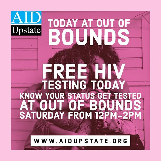 REMINDER - FREE HIV testing today (Saturday) from 12-2pm at OUt of Bounds in Greenville: http://bit.ly/2SBqD2x Can't make it Saturday stop call our Prevention office to schedule an appointment visit: http://bit.ly/2S7mzlg #yeahthatgreenville #Knowyourstatus #PrEP #prepworks #hivawareness #hivpositive #hivprevention #hivtesting #HIVAIDS #hivetattooart #hivi #hivemind #hivstigma #HIVTreatmentWorks #hivdatingsites #hivpositivedatingsites #WorldAIDSDay