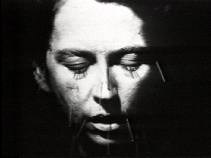 Linda Mary Montano, from the video  Mitchell's Death  (video editing by David Wagner)1978