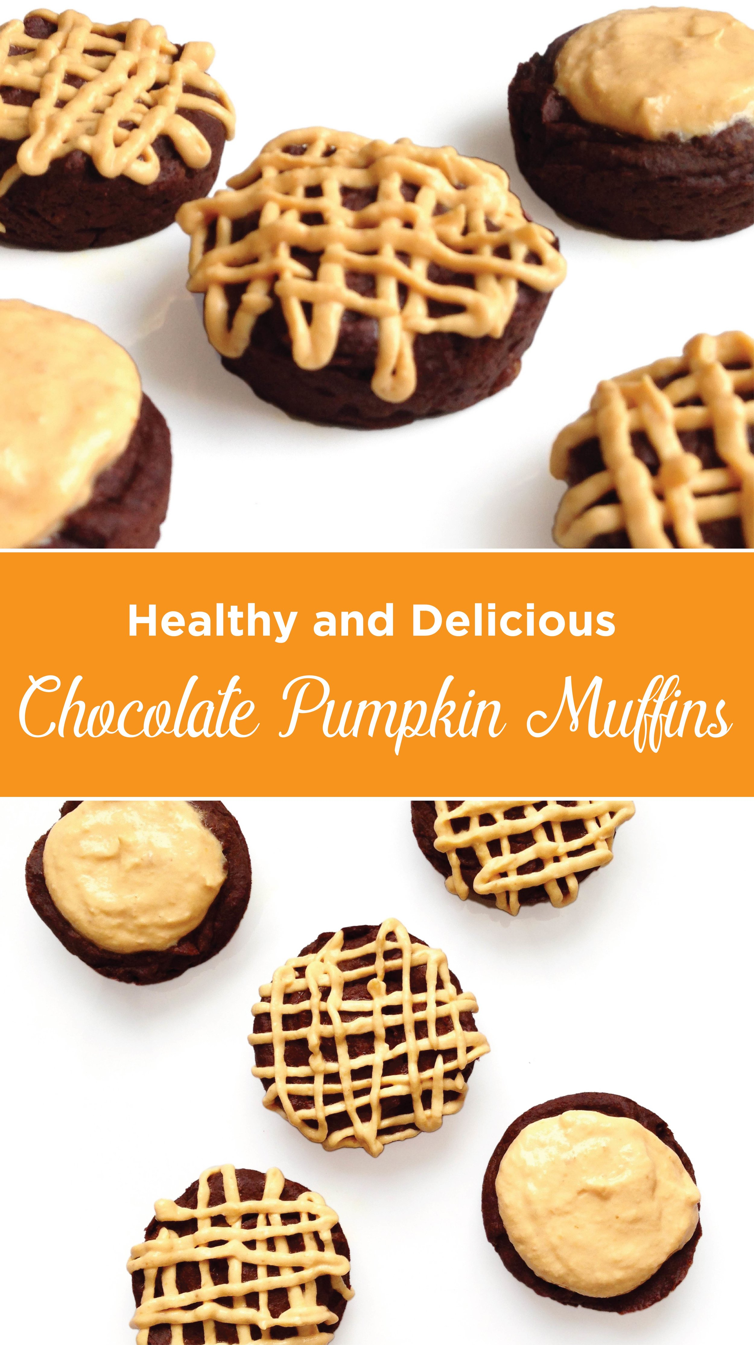 Healthy and Delicious, Chocolate Pumpkin Muffins. Moist and delicious with no sugar, no flour, no oil. Sure to satisfy your sweet tooth without adding to your waistline.