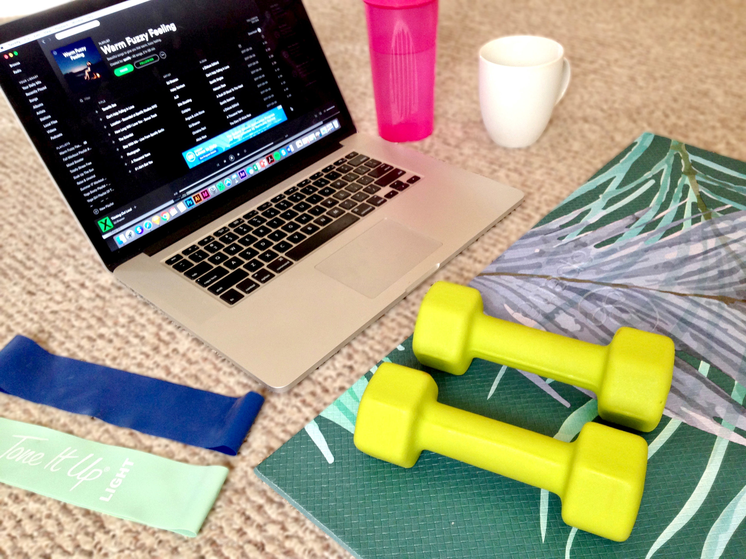 Morning set up for my workout.