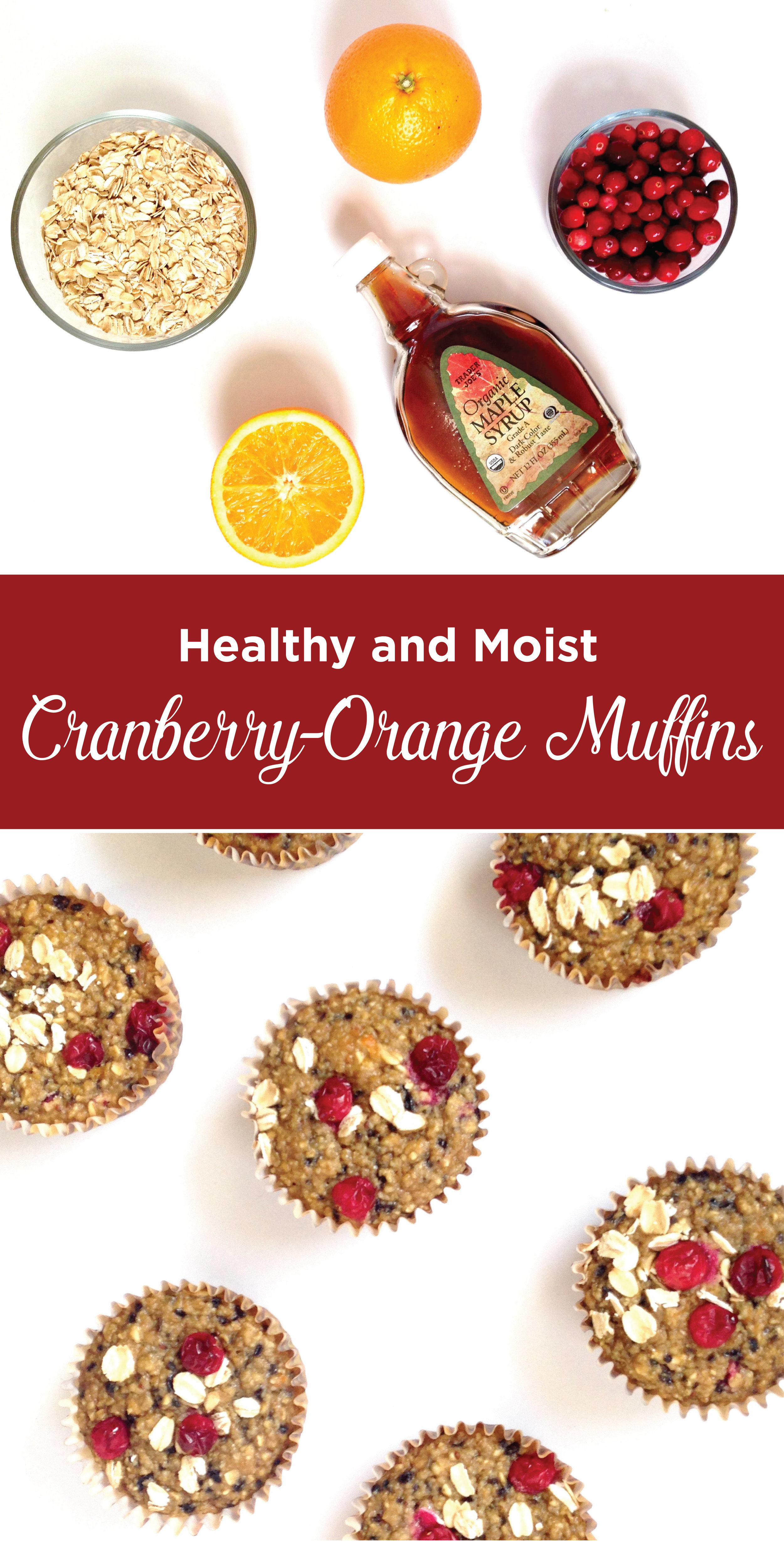 Healthy and Moist Cranberry Orange Muffins. The perfect combination for those fall and winter snacks. No sugar, no flour, no oil, no butter. Just clean ingredients.