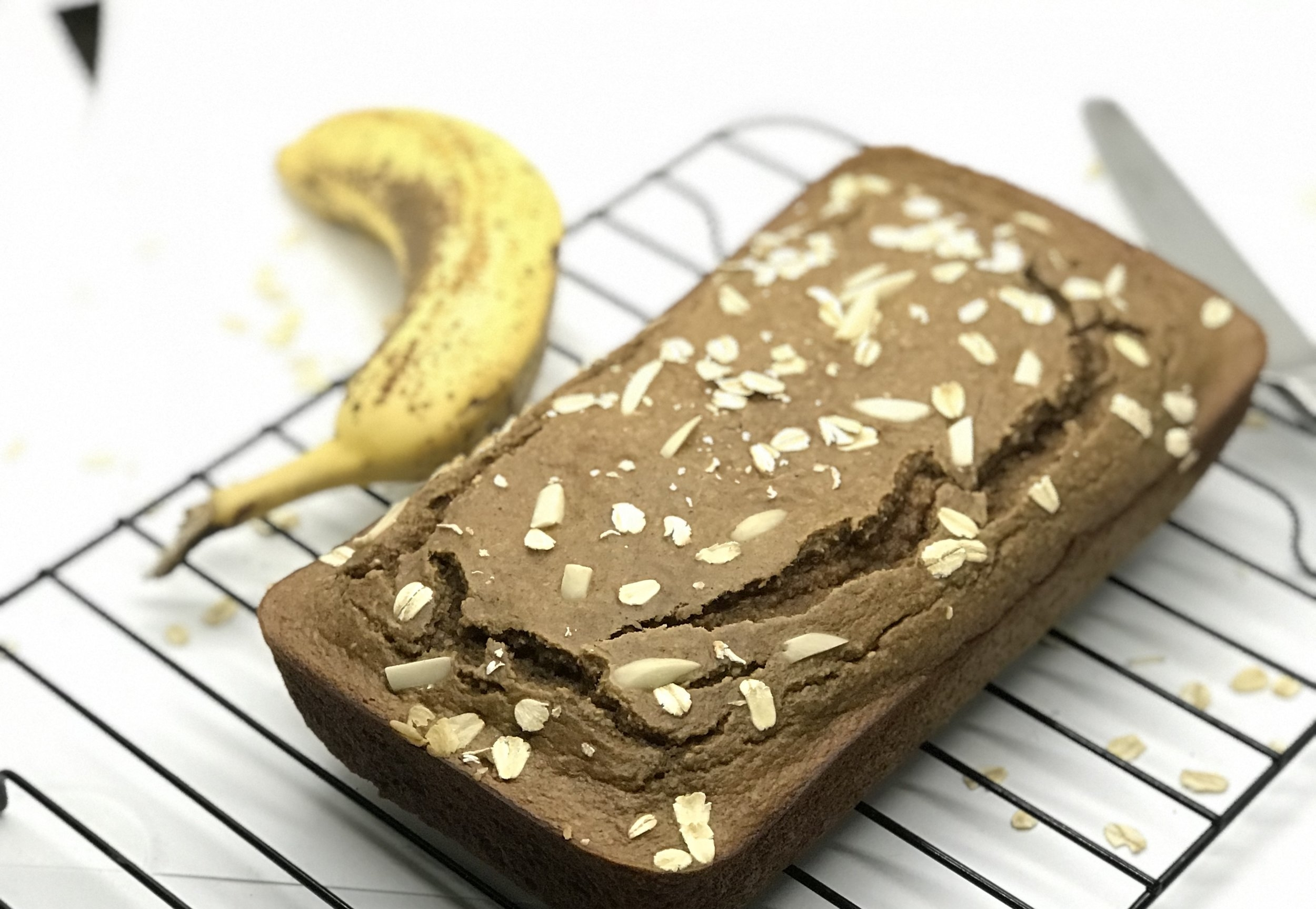 Toasted Almond clean Banana bread. A healthy breakfast. Sweet and moist.