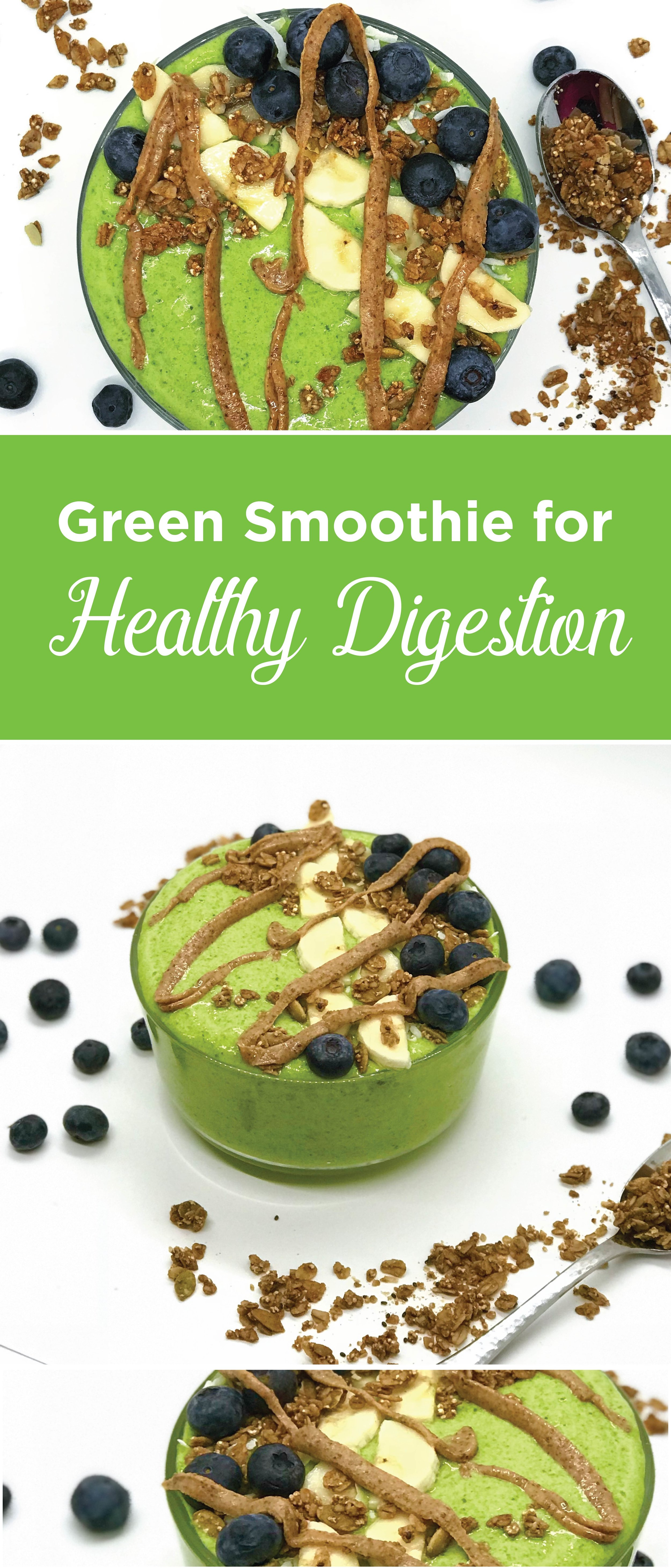 Green smoothie to heal your gut, lose weight, and boost your metabolism. It is packed with ingredients for a healthy digestion!