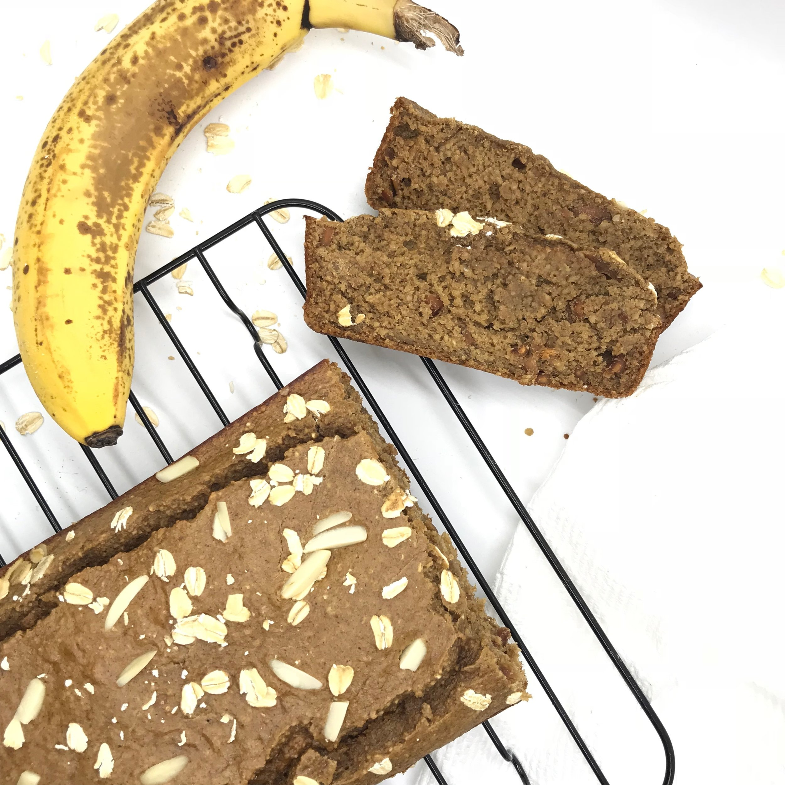 Healthy Toasted Almond Banana Bread. These are the perfect breakfast or snack and are healthy with no sugar, flour, butter, or oil. Moist and DELICIOUS with a delightful crunch.