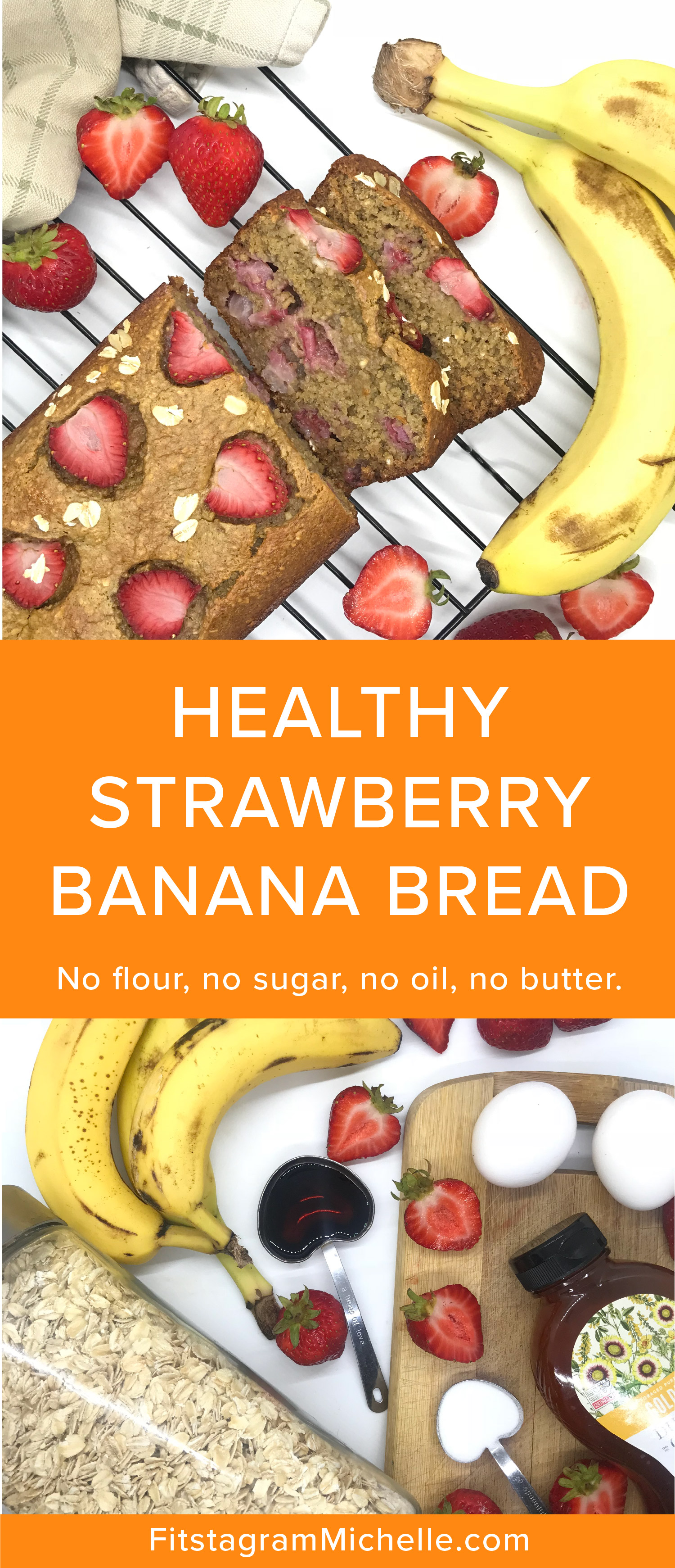 Healthy Strawberry banana bread. No sugar, no flour, no oil, no butter. Moist and delicious for the perfect summer breakfast or snack.