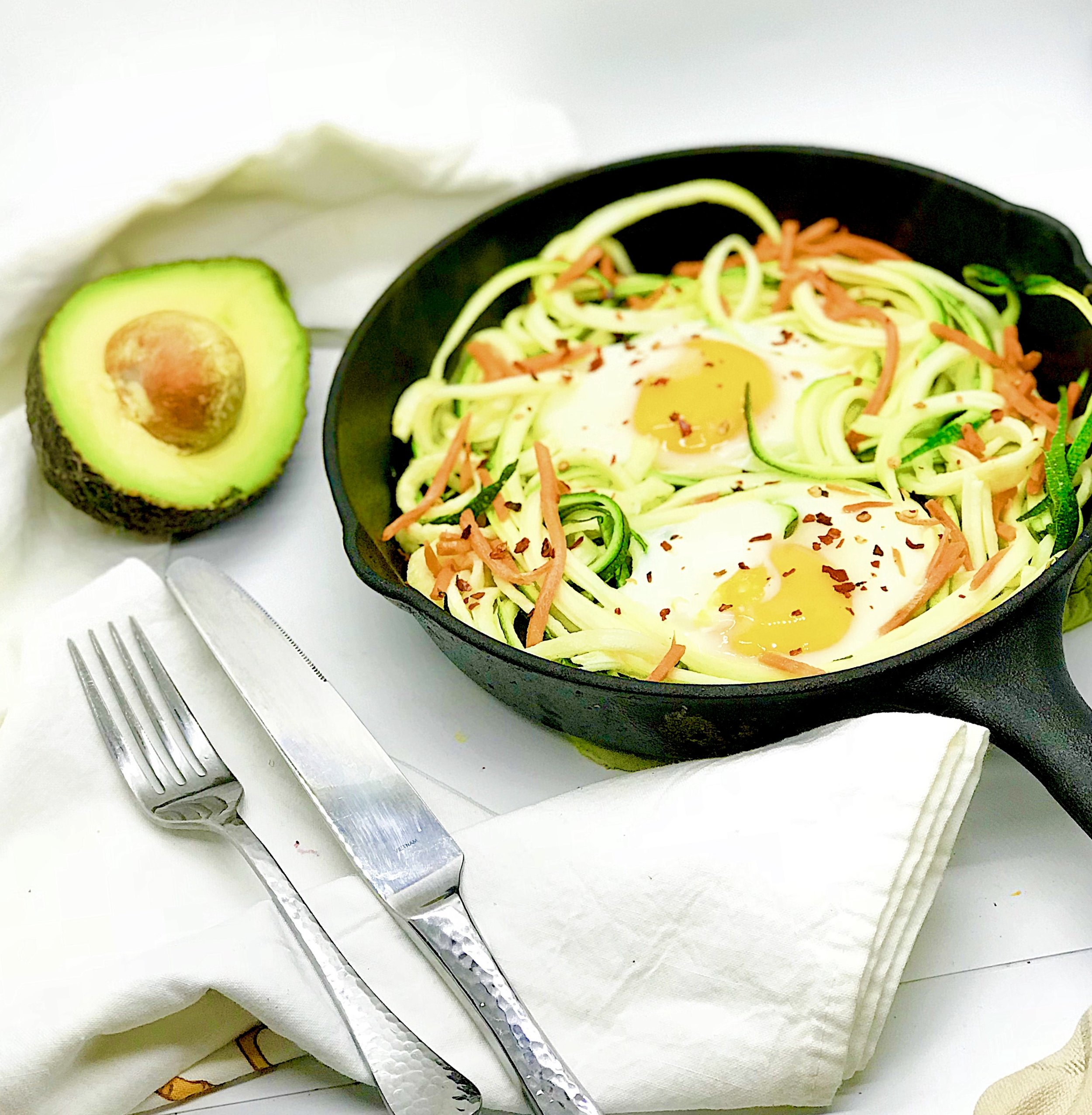 Eggs in Zoodle Nests. This meal is so simple, yet so delicious. With just three ingredients and less than 10 minutes, make a perfectly portioned meal.