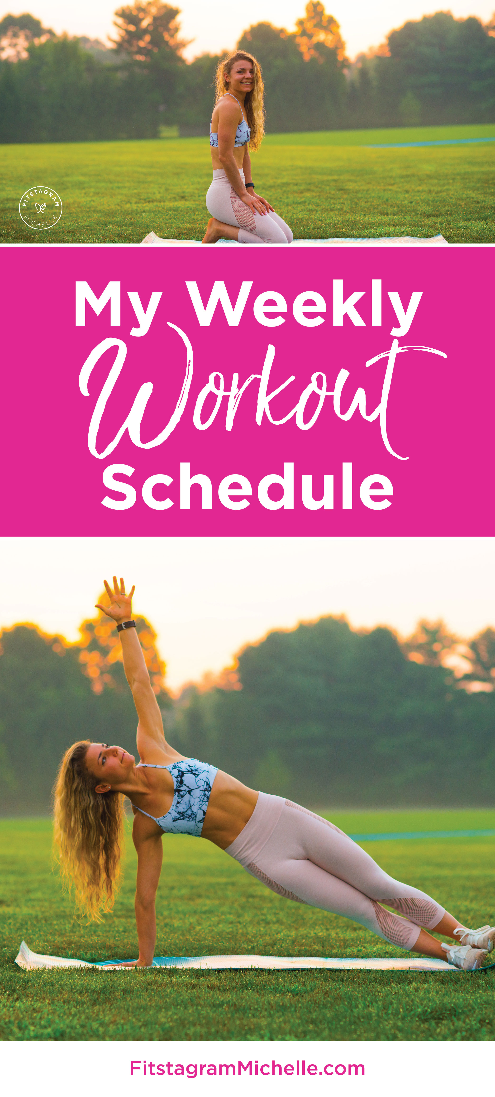 Fitstagram Michelle's weekly workout schedule plus a free at-home ab workout.