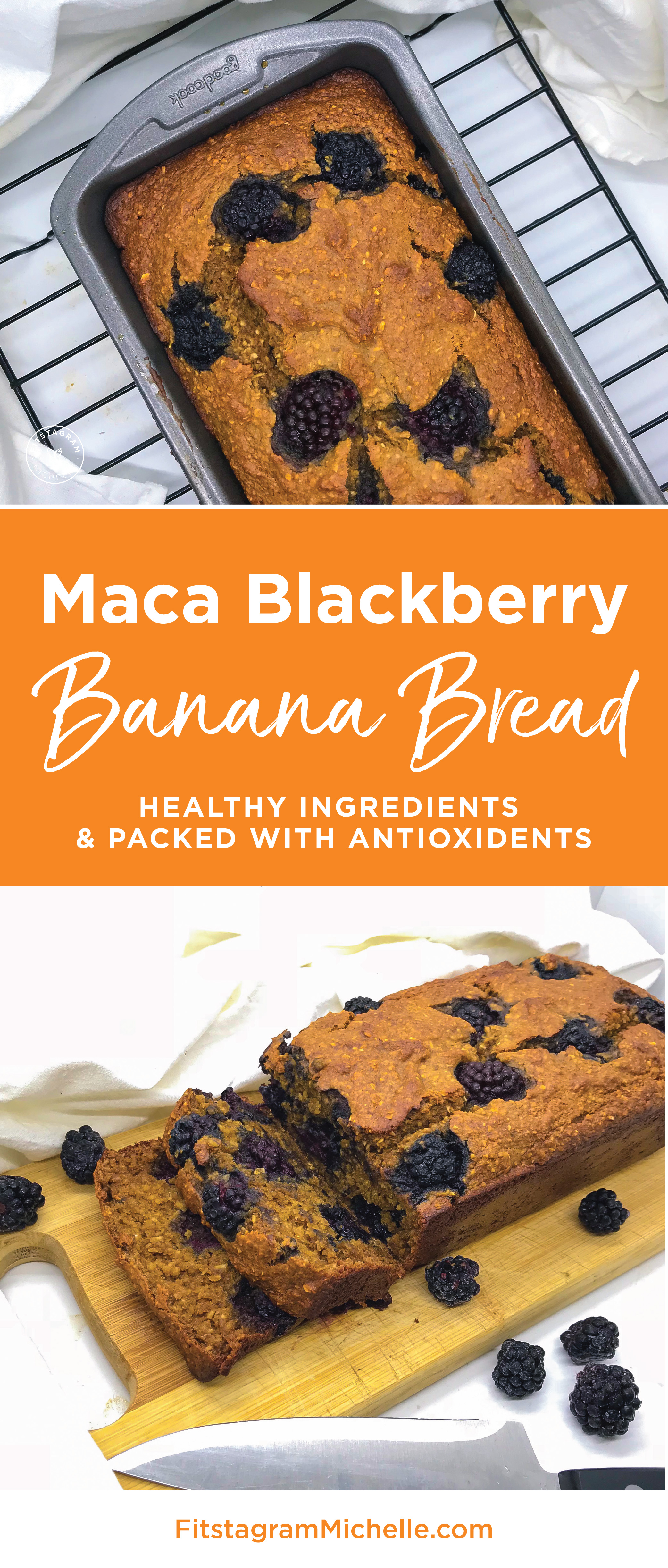 Healthy Maca Blackberry Banana Bread. No oil, no sugar, no flour. Packed with antioxidants and protein. Perfect for a healthy and clean breakfast or snack. Find the recipe at FitstagramMichelle.com/blog/maca-blackberry-banana-bread